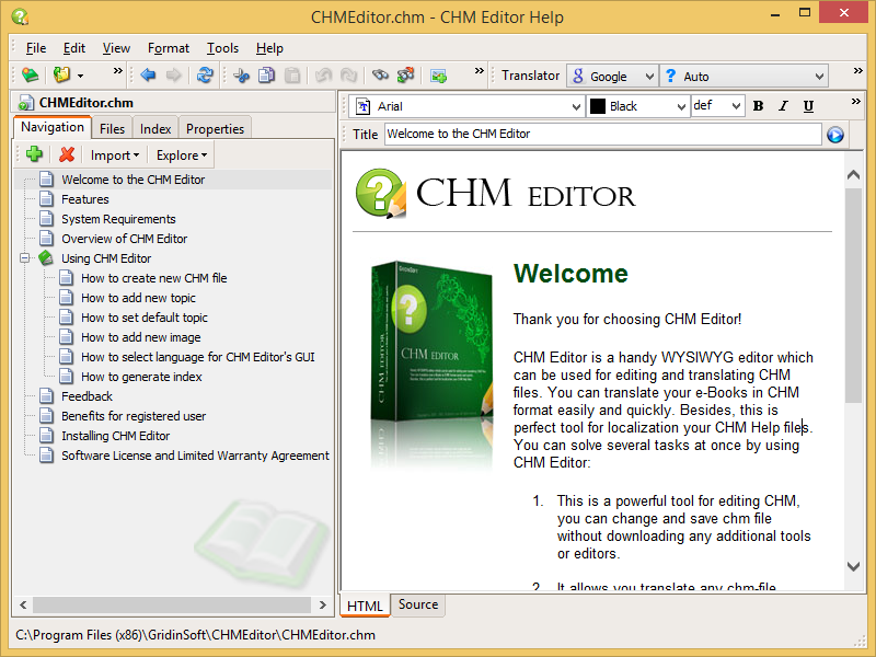 Screenshot for CHM Editor 2.0.0.6