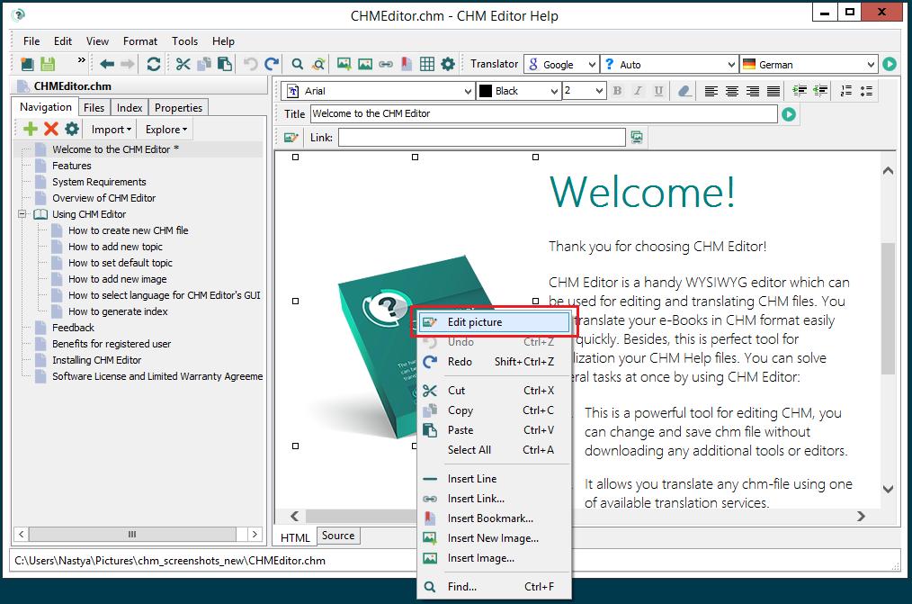 CHM Editor screenshot